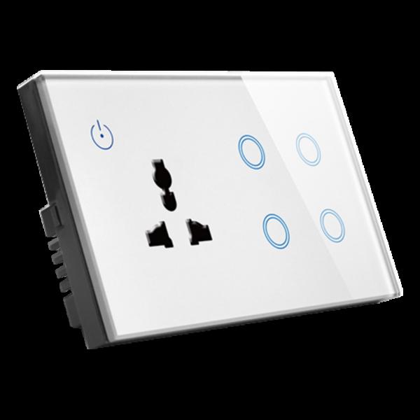 کلید 4 پل ترکیبی با پریز خانه هوشمند